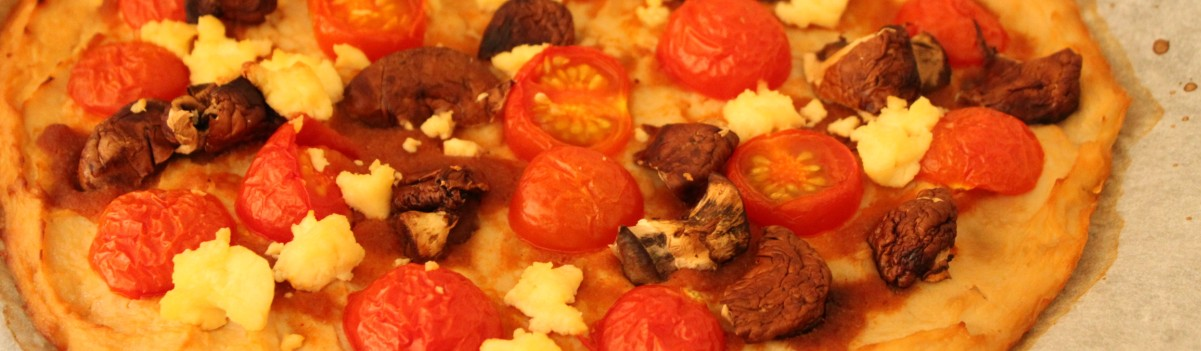 cauliflower pizza crust cream cheese mushroom tomatoes