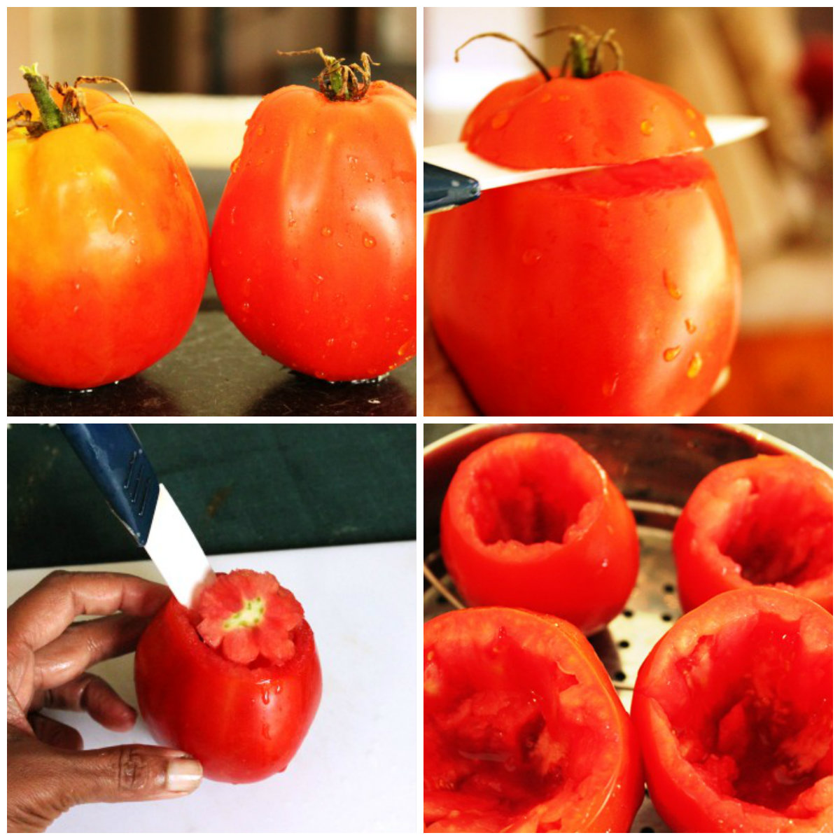 stuffed tomatoes collage