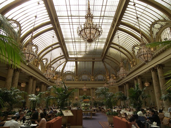 The sumptuous Garden Court restaurant is in San Francisco's Palace Hotel, where Green Goddess dressing was invented. / Photo by Larry D. Moore courtesy of Wikimedia Commons