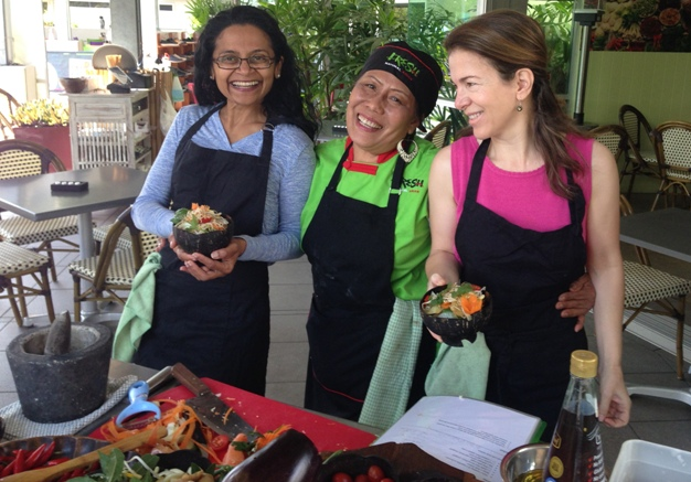 Chef Shelly with me and another participant at the Jackfruit Mackerel Curry Workshop